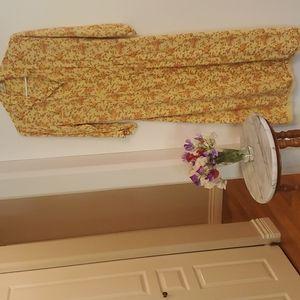 Vintage April Cornell Floral Midi Dress Yellow Med